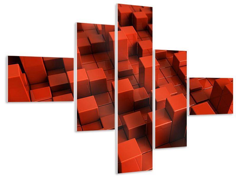 Hartschaumbild 5-teilig modern 3D-Rechtkant