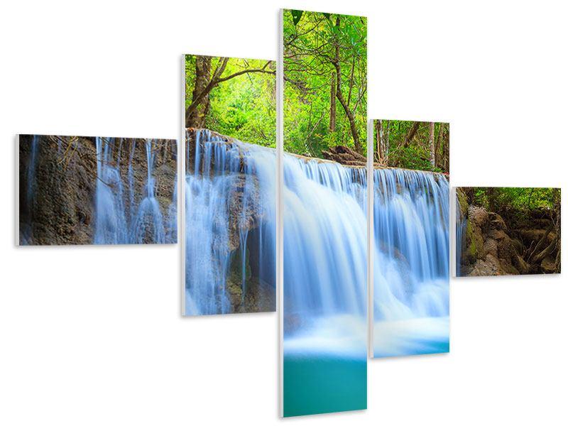 Hartschaumbild 5-teilig modern Wasserfall Si Nakharin