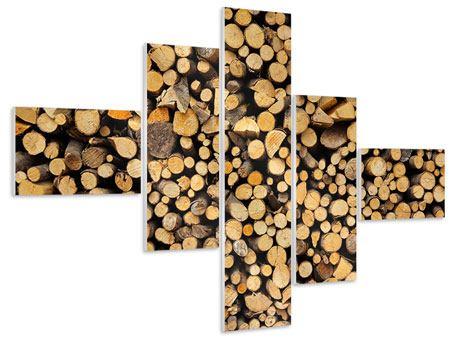Hartschaumbild 5-teilig modern Brennholz