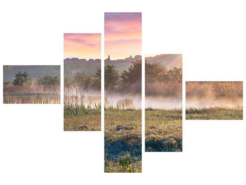 Hartschaumbild 5-teilig modern Sonnenuntergang am Hügel