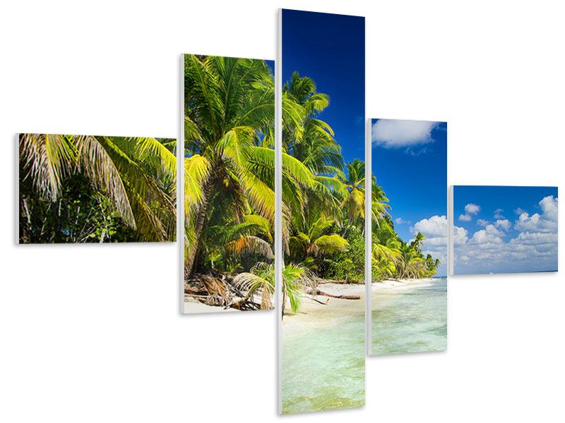 Hartschaumbild 5-teilig modern Die einsame Insel