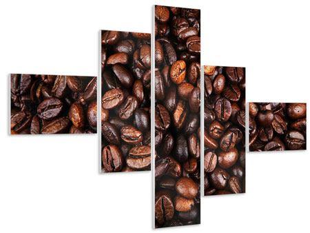 Hartschaumbild 5-teilig modern Kaffeebohnen in XXL