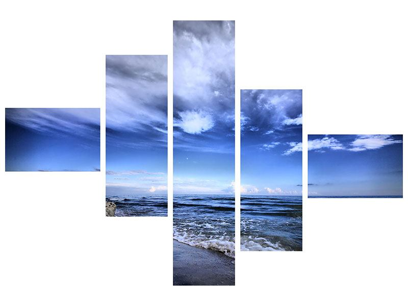 Hartschaumbild 5-teilig modern Strandwellen