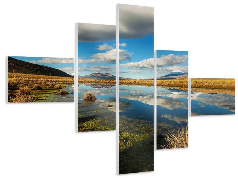 Hartschaumbild 5-teilig modern Wasserspiegelung am See