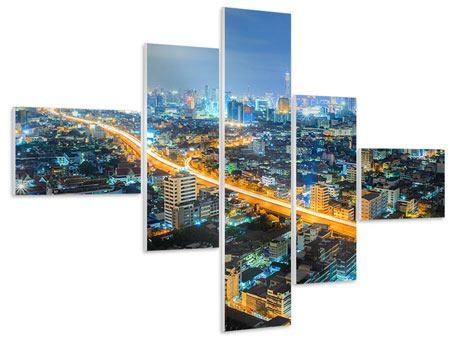 Hartschaumbild 5-teilig modern Skyline Bangkok im Fieber der Nacht