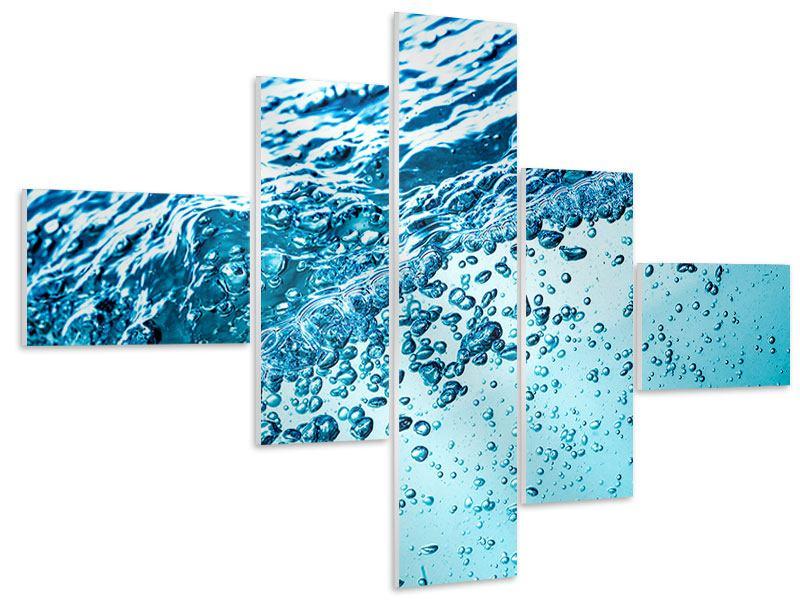 Hartschaumbild 5-teilig modern Wasser in Bewegung