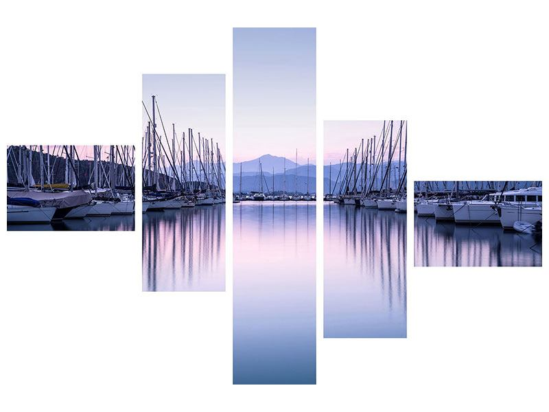 Hartschaumbild 5-teilig modern Yachthafen