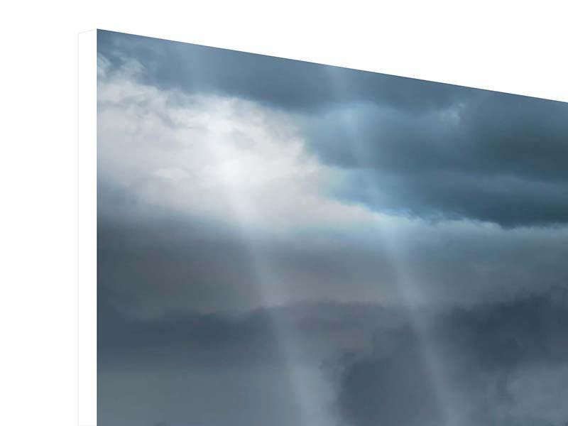 Hartschaumbild 5-teilig modern Silberstreifen