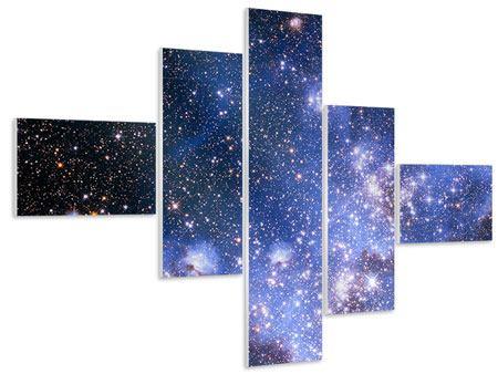 Hartschaumbild 5-teilig modern Sternenhimmel
