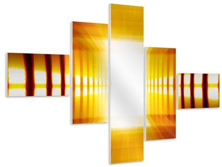Hartschaumbild 5-teilig modern Abstrakter Goldener Raum