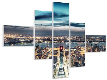 Hartschaumbild 5-teilig modern Skyline Manhattan Citylights