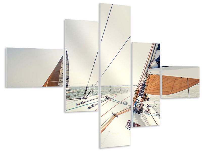 Hartschaumbild 5-teilig modern Segelyacht