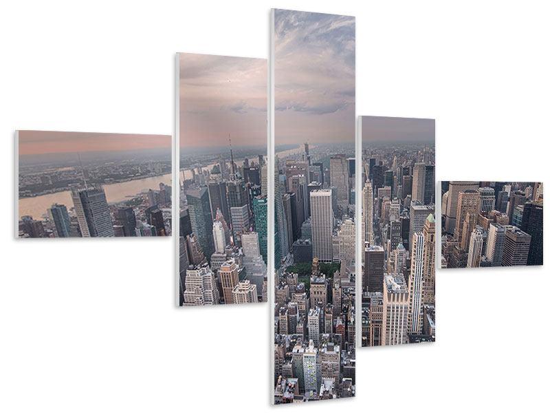 Hartschaumbild 5-teilig modern Skyline Blick über Manhattan