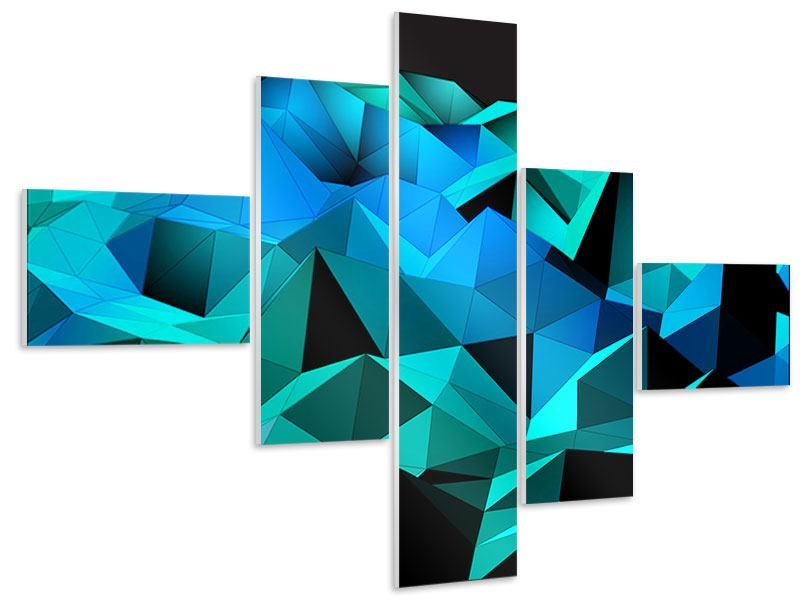 Hartschaumbild 5-teilig modern 3D-Diamonds