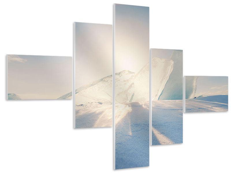 Hartschaumbild 5-teilig modern Eislandschaft