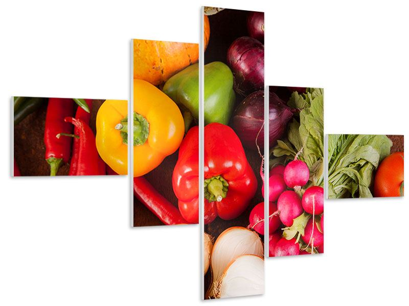 Hartschaumbild 5-teilig modern Gemüsefrische
