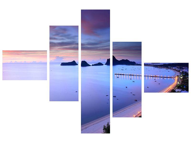 Hartschaumbild 5-teilig modern Ano Manao Bucht