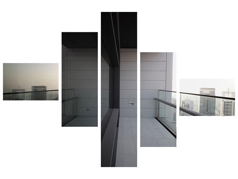 Hartschaumbild 5-teilig modern Balkon in Dubai
