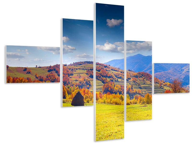 Hartschaumbild 5-teilig modern Herbstliche Berglandschaft