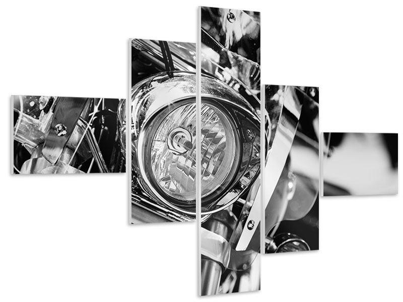 Hartschaumbild 5-teilig modern Motorrad Close Up