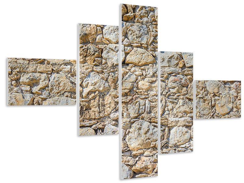 Hartschaumbild 5-teilig modern Sandsteinmauer