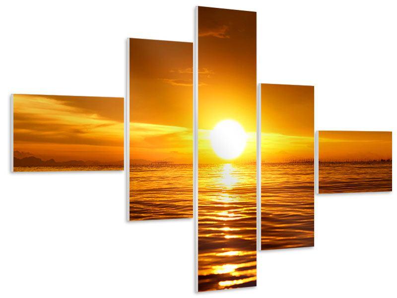 Hartschaumbild 5-teilig modern Glühender Sonnenuntergang am Wasser