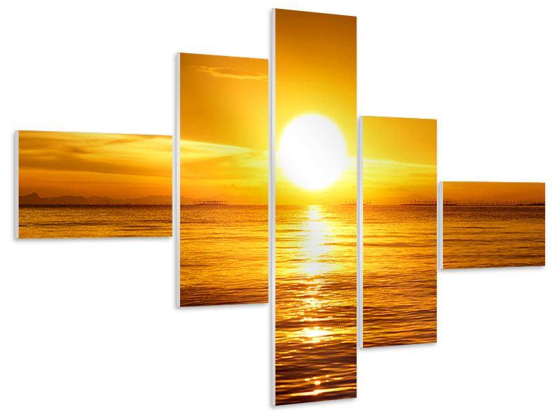 Hartschaumbild 5-teilig modern Traumhafter Sonnenuntergang