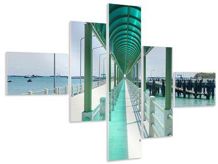 Hartschaumbild 5-teilig modern Die Brücke am Meer