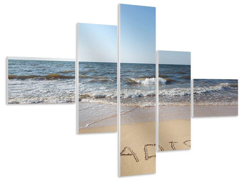 Hartschaumbild 5-teilig modern Sandspuren