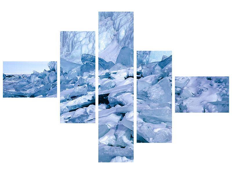 Hartschaumbild 5-teilig modern Eislandschaft Baikalsee