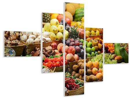 Hartschaumbild 5-teilig modern Obstmarkt