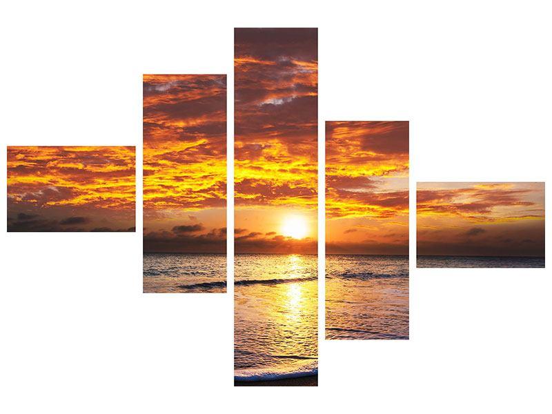 Hartschaumbild 5-teilig modern Entspannung am Meer