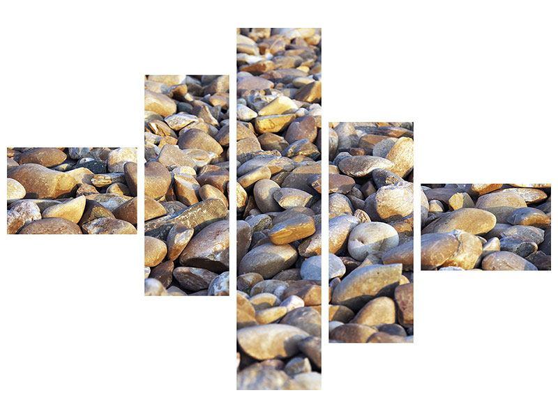 Hartschaumbild 5-teilig modern Strandsteine