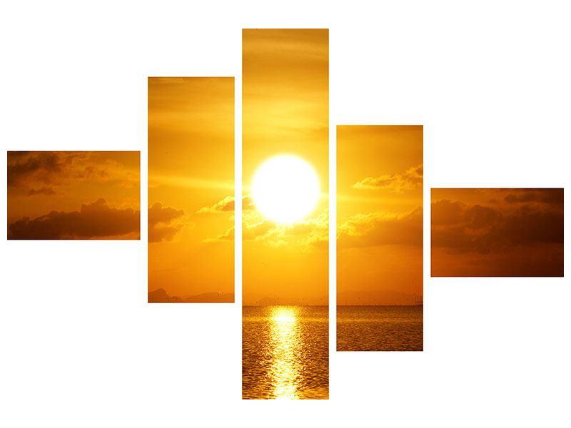 Hartschaumbild 5-teilig modern Sonnenuntergang See