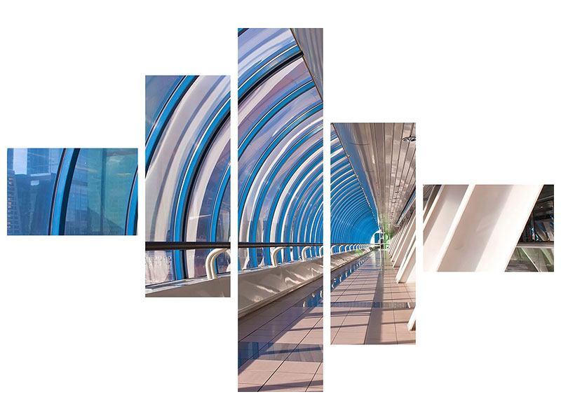 Hartschaumbild 5-teilig modern Hypermoderne Brücke