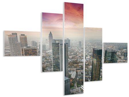 Hartschaumbild 5-teilig modern Skyline Penthouse in New York