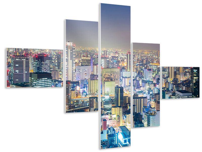 Hartschaumbild 5-teilig modern Skyline Osaka bei Sonnenuntergang