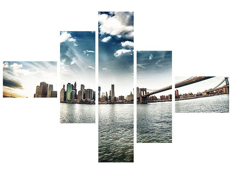 Hartschaumbild 5-teilig modern Brooklyn Bridge From The Other Side
