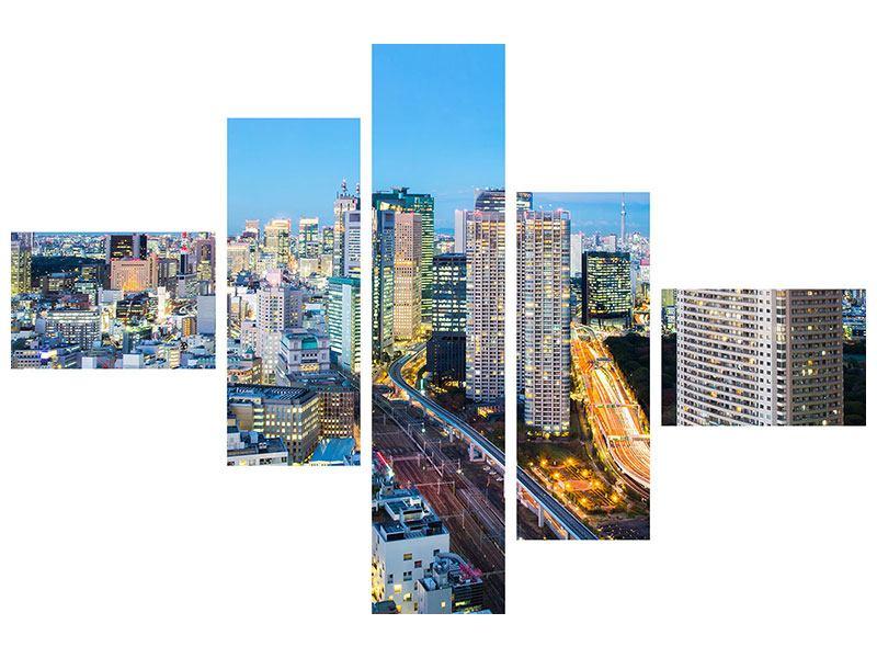 Hartschaumbild 5-teilig modern Skyline Tokio im Lichtermeer
