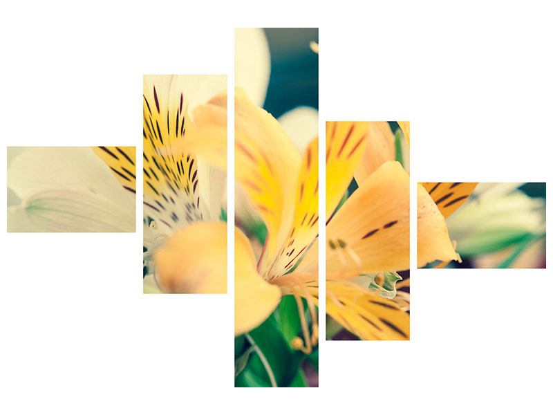 Hartschaumbild 5-teilig modern Tigerlilien