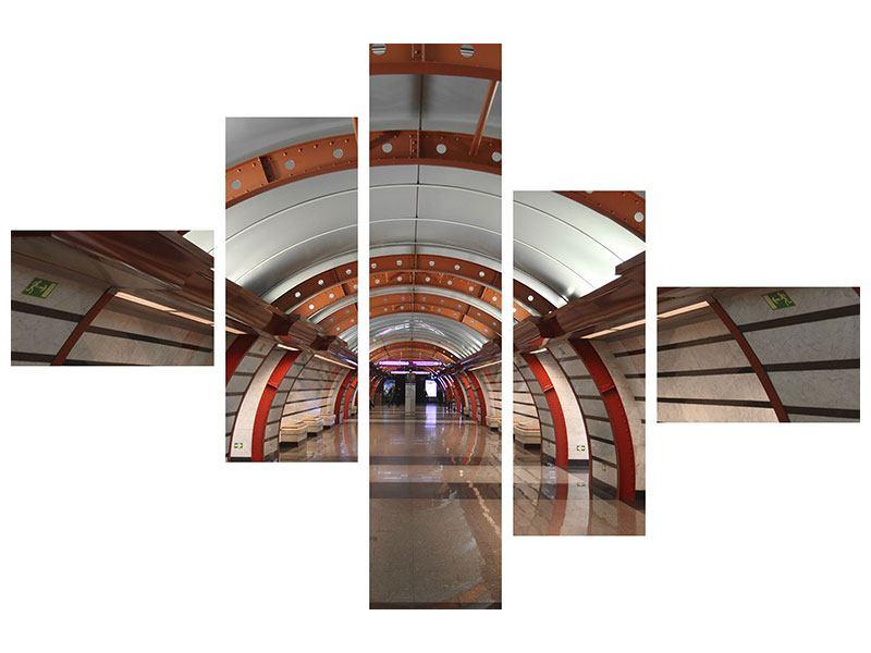 Hartschaumbild 5-teilig modern U-Bahn Station