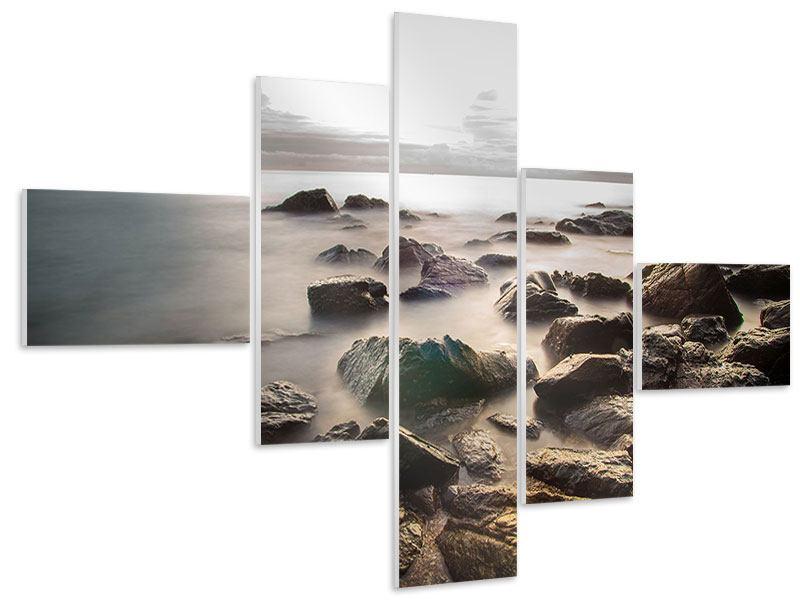 Hartschaumbild 5-teilig modern Steine am Strand