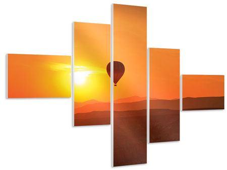 Hartschaumbild 5-teilig modern Heissluftballon bei Sonnenuntergang