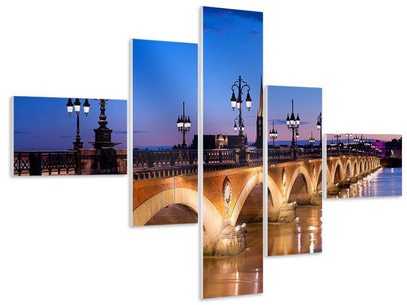 Hartschaumbild 5-teilig modern Pont De Pierre bei Sonnenuntergang
