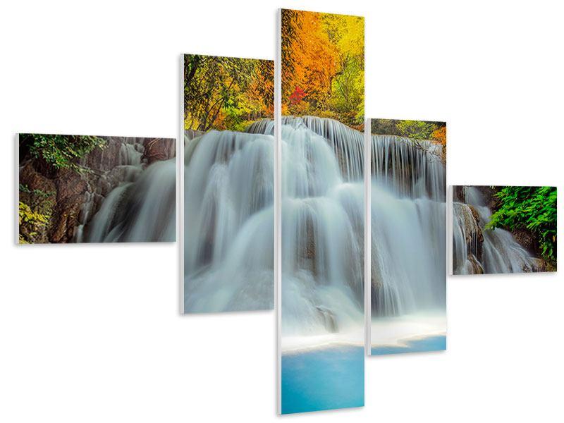 Hartschaumbild 5-teilig modern Fallendes Gewässer