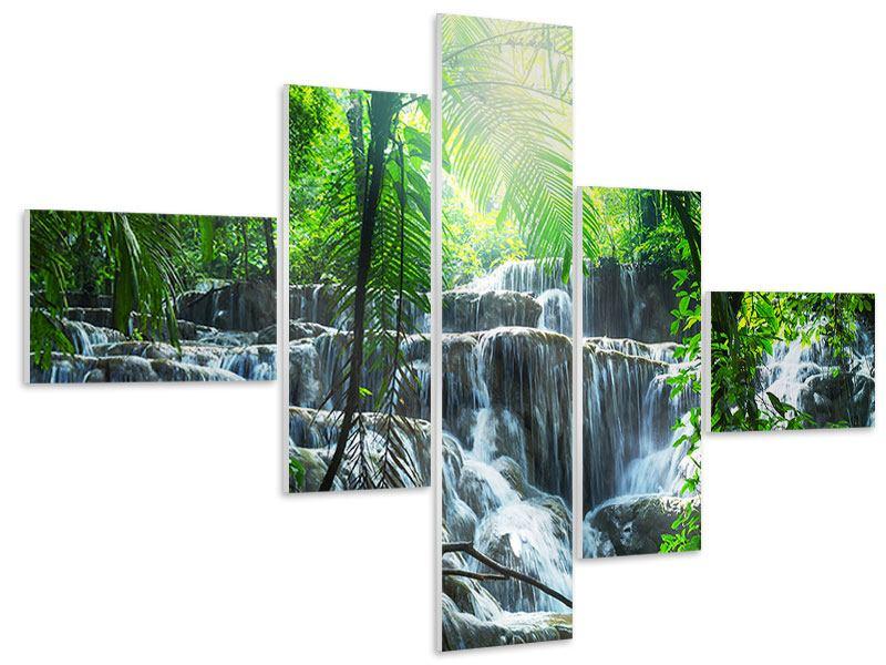 Hartschaumbild 5-teilig modern Wasserfall Agua Azul