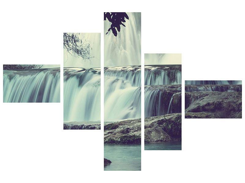 Hartschaumbild 5-teilig modern Wasserfall Mexiko