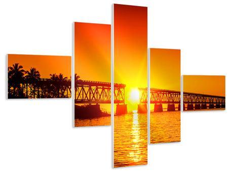 Hartschaumbild 5-teilig modern Sonnenuntergang an der Brücke