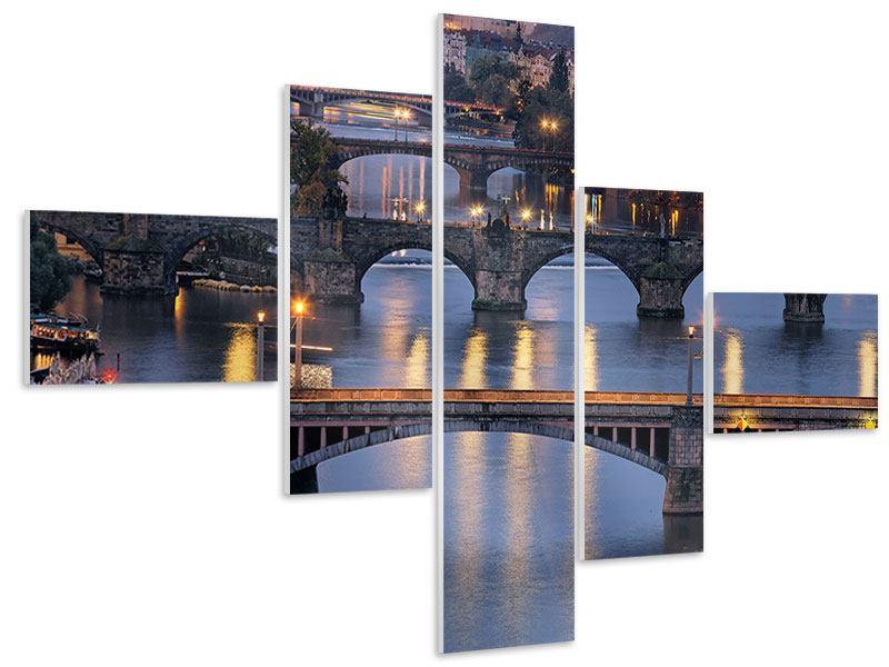 Hartschaumbild 5-teilig modern Brücken in Prag
