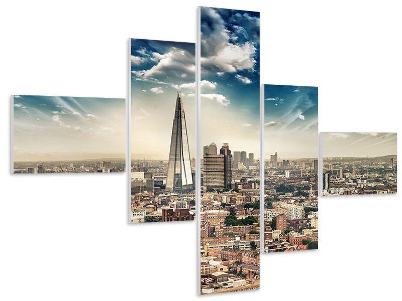 Hartschaumbild 5-teilig modern Skyline Über den Dächern von London